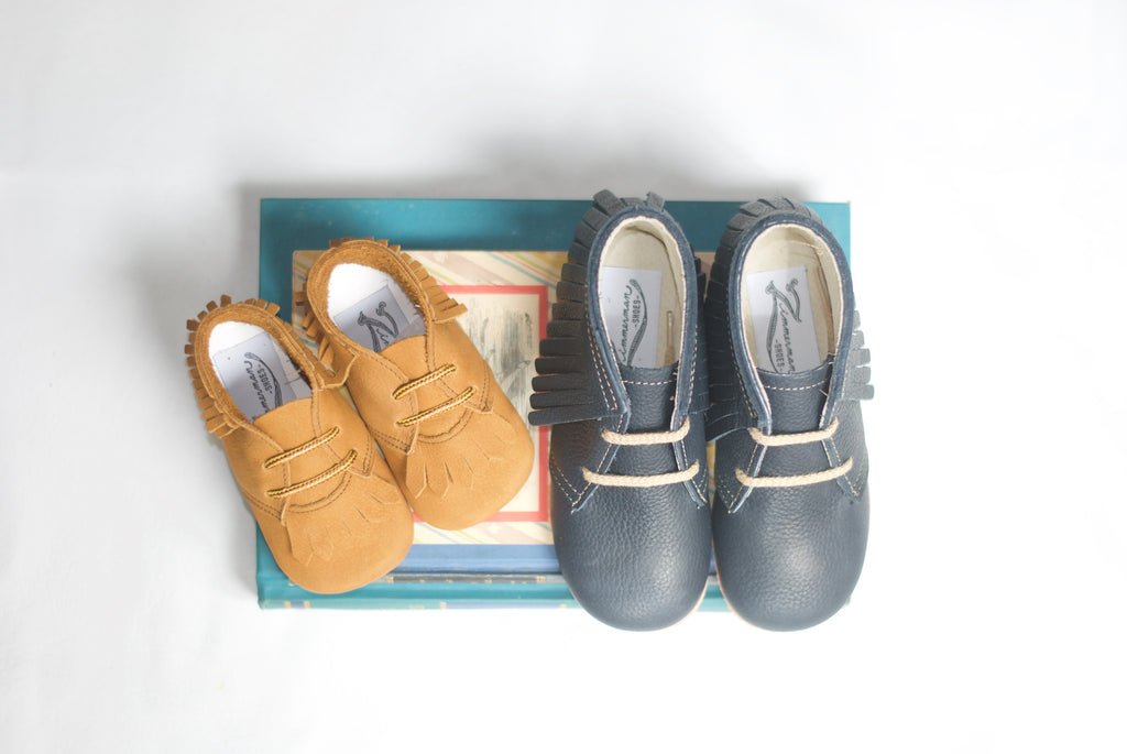 tan leather baby moc boots