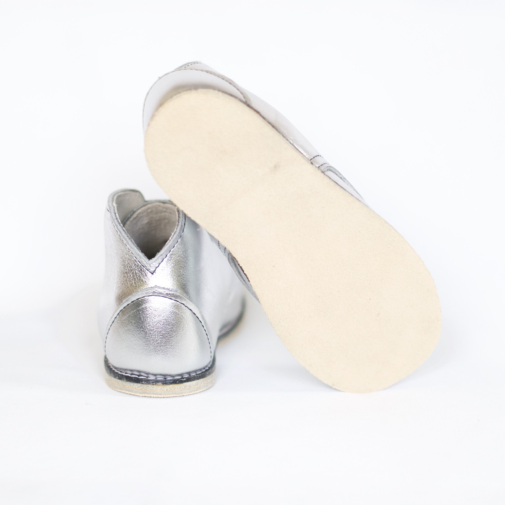 metallic silver leather boot for kids