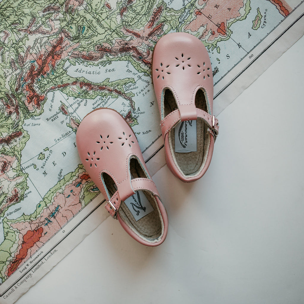 Flora T-Strap in Blush Pink | Sizes 5-12