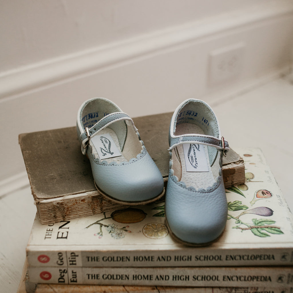 Scalloped Mary Jane in Pale Blue | Sizes 4-12