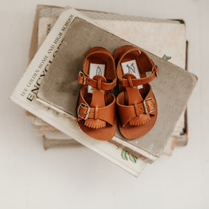Stevie Sandal in Warm Brown (w/ Removable Fringe) | 2 (Infant) - 2 (Youth)