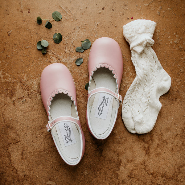 blush pink scalloped mary janes, palest pink glove leather