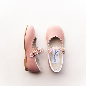 Scalloped Mary Jane in Blush Pink | Sizes 4-12