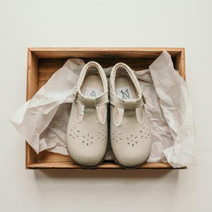 Flora T-Strap in Dove Grey | Sizes 5-12