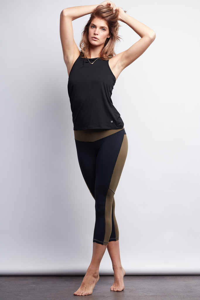 Army/Black Two-Tone Crop Legging - Haven Collective