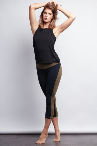 Black/Olive Two-Tone Crop Legging