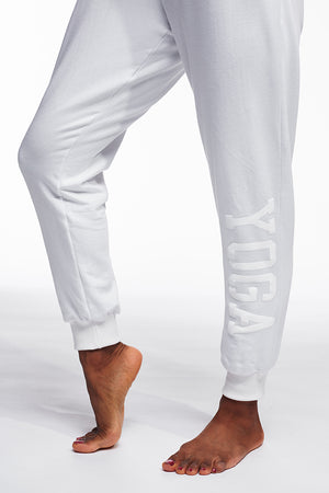 YOGA SWEATPANTS WHITE ON WHITE - Haven Collective
