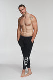 MEN'S YOGA SWEATPANTS WHITE ON BLACK - Haven Collective