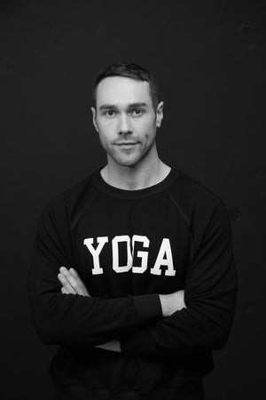 MEN'S YOGA SWEATSHIRT WHITE ON BLACK - Haven Collective
