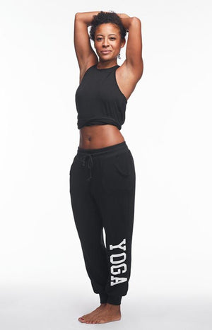 YOGA SWEATPANTS WHITE ON BLACK - Haven Collective