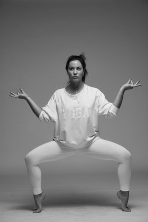 YOGA SWEATSHIRT WHITE ON WHITE - Haven Collective