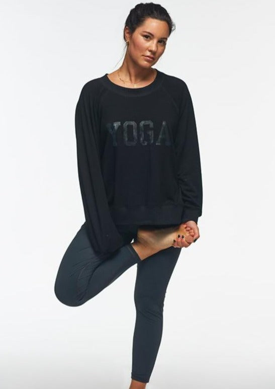 YOGA SWEATSHIRT BLACK ON BLACK - Haven Collective