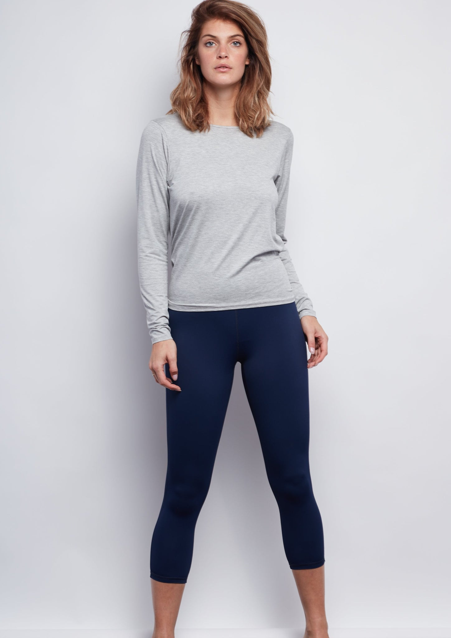 Nautical Navy Sculpt Crop Legging - Haven Collective