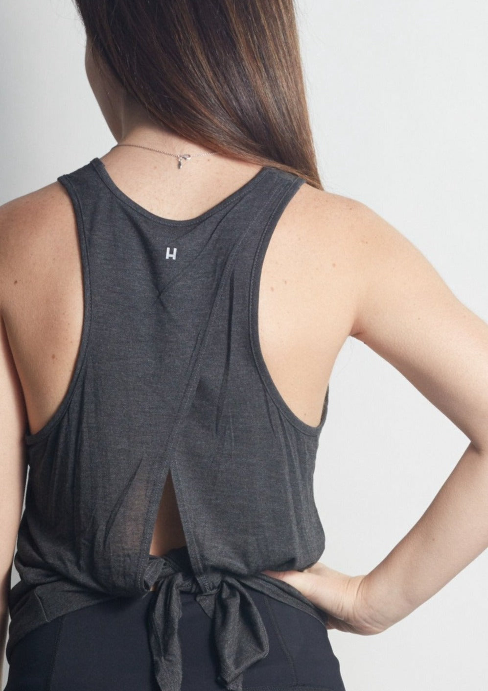 Sparkle LOTUS Anthracite Camille Tie-Back Tank - Haven Collective