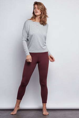 Burgundy Sculpt 7/8 Legging - Haven Collective