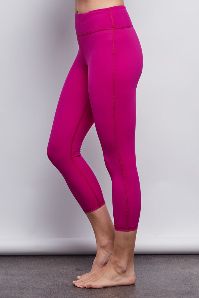 Hibiscus Pink Sculpt Crop Legging - Haven Collective