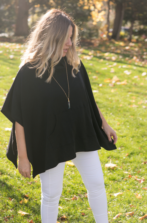 BLACK PONCHO  French Terry