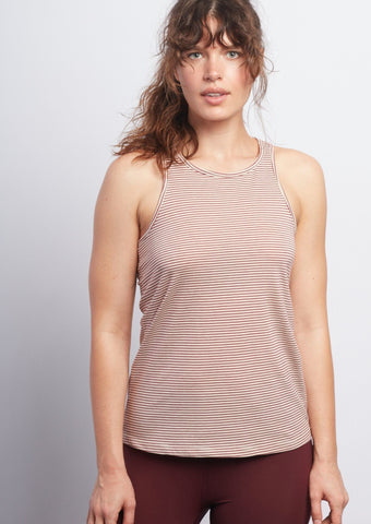 Burgundy Stripe Racerback Tank - Haven Collective