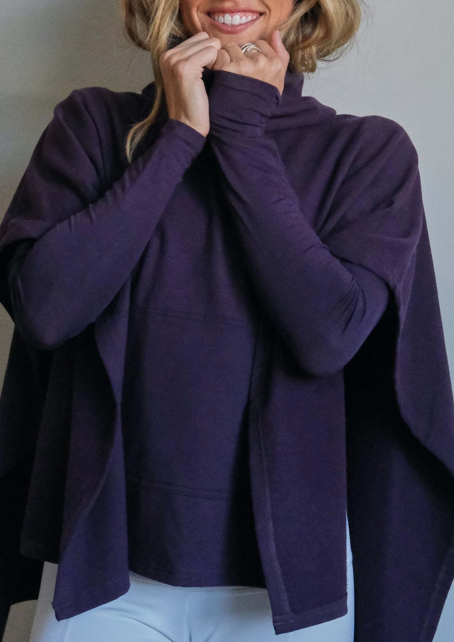PLUM PONCHO  French Terry