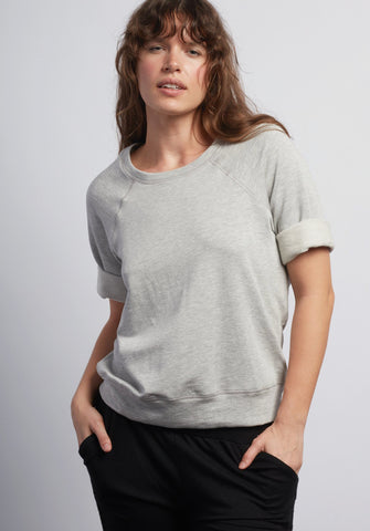 Heather Grey Boyfriend Short Sleeve Sweatshirt - Haven Collective