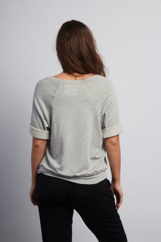 LOTUS Heather Grey Boyfriend Short Sleeve Sweatshirt - Haven Collective