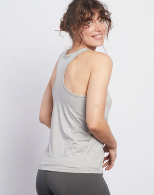 White LOTUS Heather Grey Racerback Tank - Haven Collective