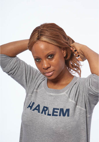 HARLEM Heather Grey Boyfriend Sweatshirt [French Terry Fleece]
