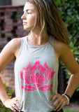 PINK LOTUS Heather Grey Racerback Tank - Haven Collective