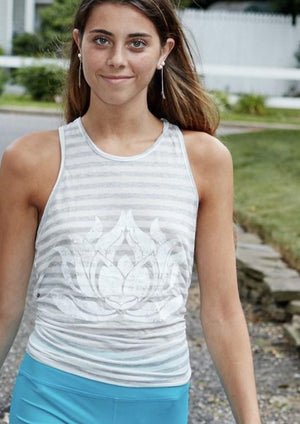 White Lotus Natural Grey Stripe Racerback Tank