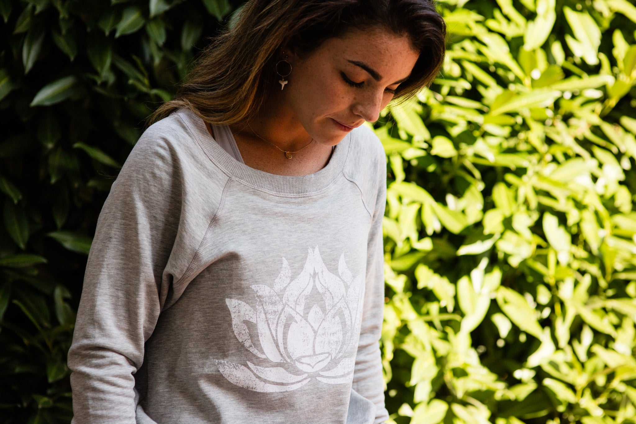 WHITE LOTUS Heather Grey Boyfriend Sweatshirt - Haven Collective