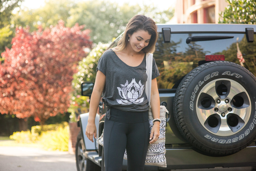 White Distressed Lotus Anthracite Boxy Tee - Haven Collective