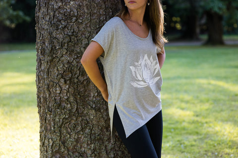 White Lotus Heather Grey Boxy Tee - Haven Collective