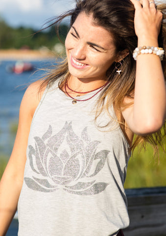 Sparkle LOTUS Heather Grey Racerback Tank
