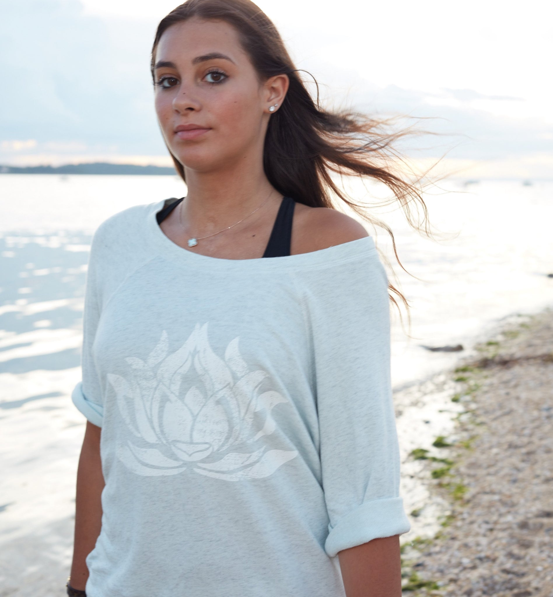 LOTUS Mint Heather Boyfriend Short Sleeve Sweatshirt - Haven Collective