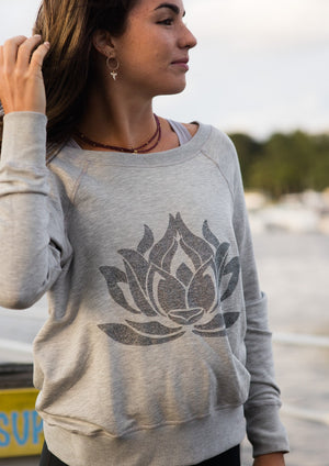 Sparkle LOTUS Heather Grey Boyfriend Sweatshirt - Haven Collective