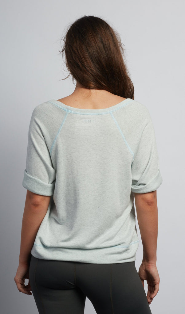Mint Heather Boyfriend Short Sleeve Sweatshirt - Haven Collective