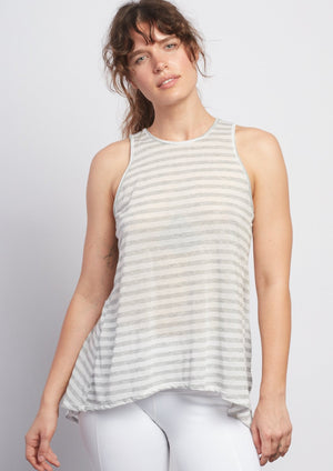 Natural Grey Stripe Camille Tie-Back Tank - Haven Collective