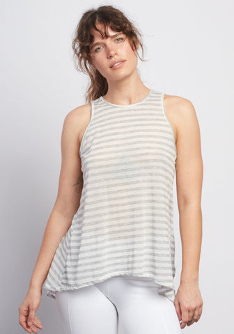 Natural Grey Stripe Camille Tie-Back Tank