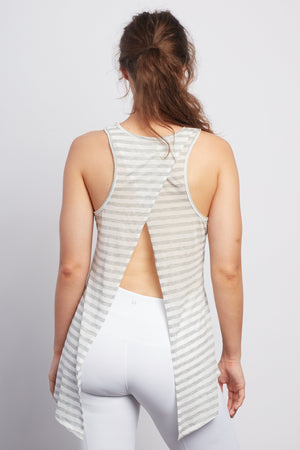 PINK LOTUS  Natural Grey Stripe Camille Tie-Back Tank - Haven Collective
