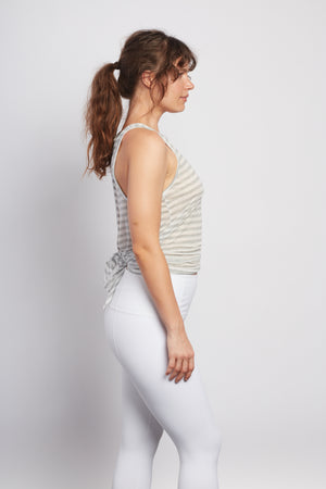 WHITE LOTUS  Natural Grey Stripe Camille Tie-Back Tank - Haven Collective