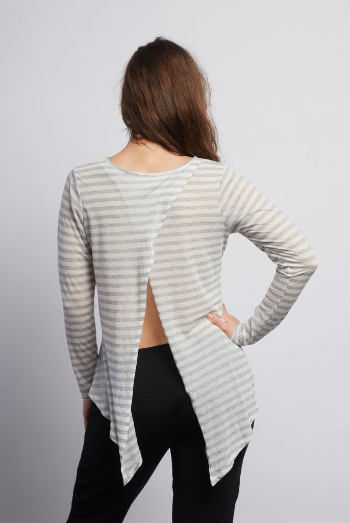Natural Grey Stripe Camille Long Sleeve - Haven Collective