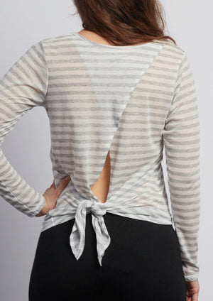 WHITE LOTUS  Natural Grey Stripe Camille Long Sleeve - Haven Collective