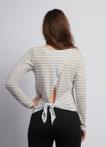 Natural Grey Stripe Camille Long Sleeve