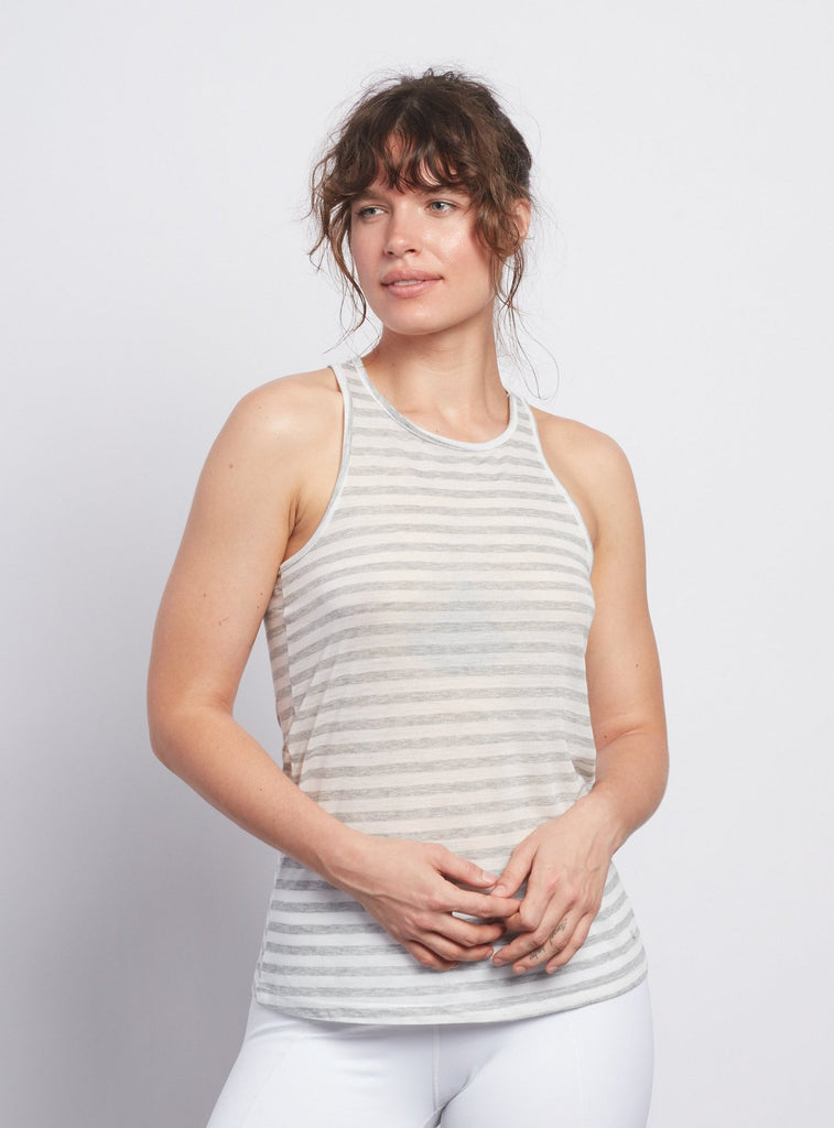 Natural Grey Stripe Racerback Tank - Haven Collective