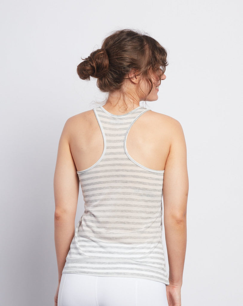 Natural Grey Stripe Racerback Tank