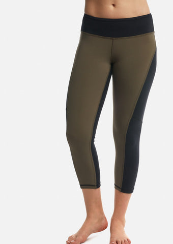 Moss/Black Two-Tone Crop Legging