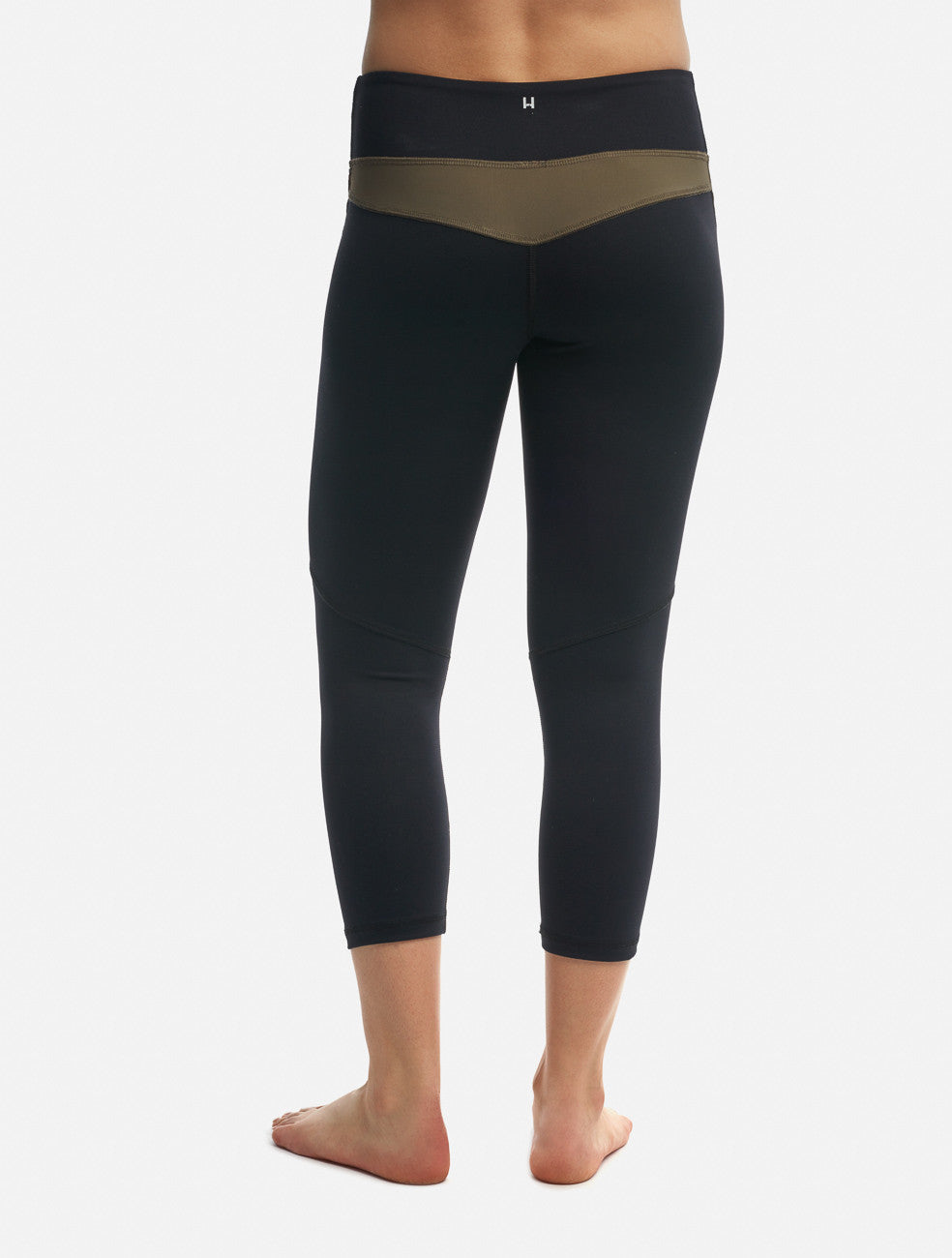 Moss/Black Two-Tone Crop Legging - Haven Collective