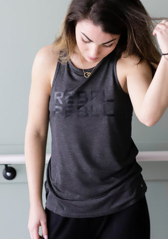 REBEL REBEL Anthracite Racerback Tank - Haven Collective