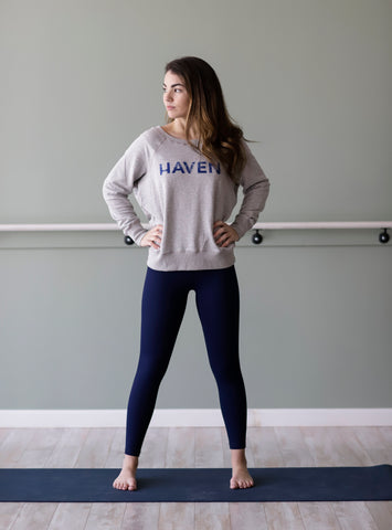 HAVEN Navy Distressed  Heather Grey Boyfriend Sweatshirt