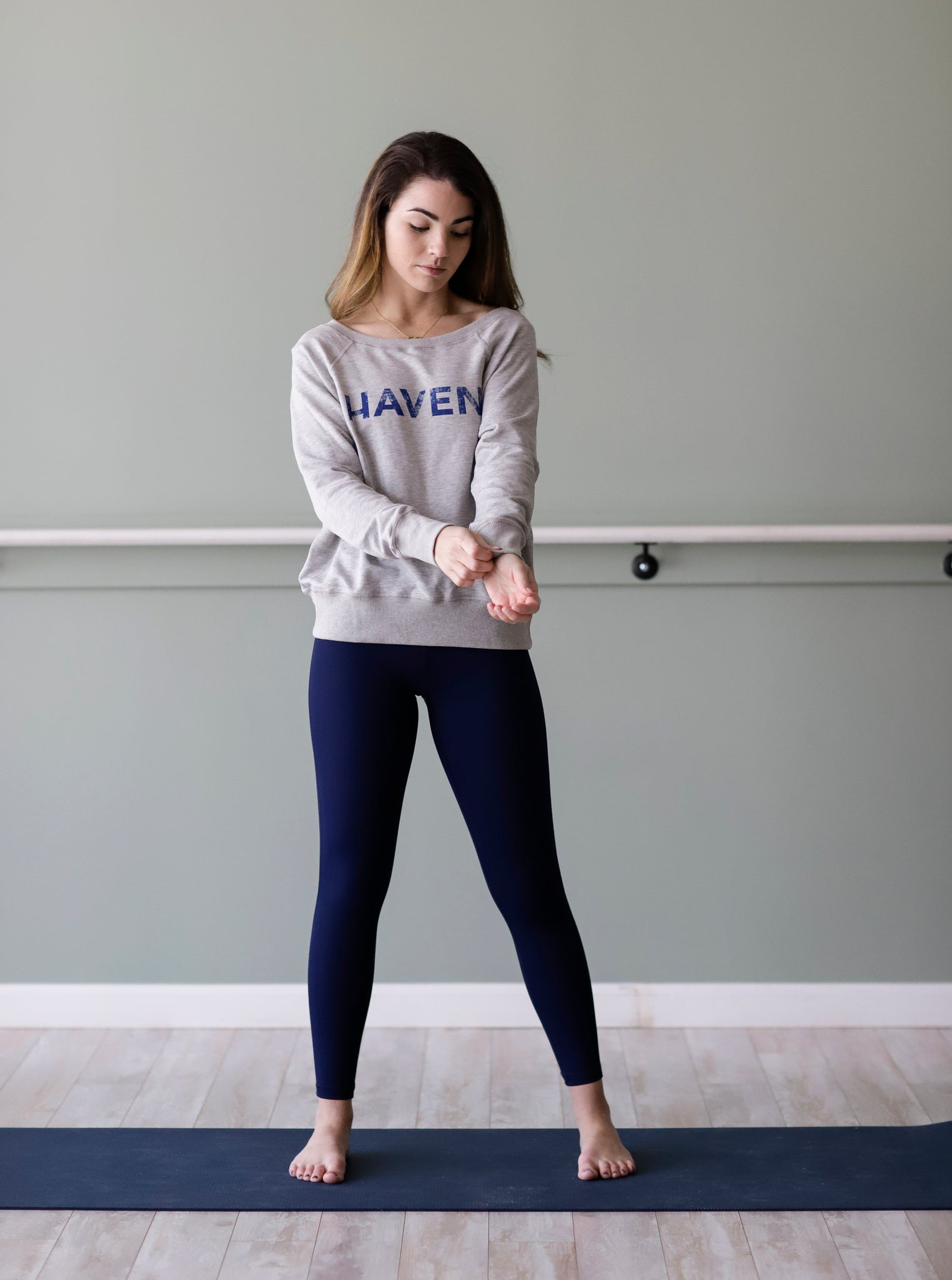 HAVEN Navy Distressed  Heather Grey Boyfriend Sweatshirt - Haven Collective